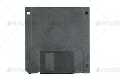 Black floppy disk on white background