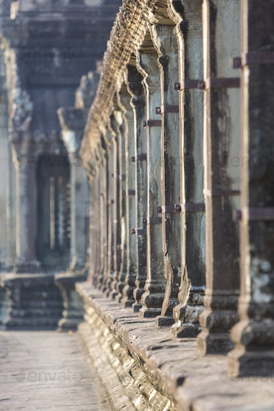 Angkor Wat temple Details with morning light, Cambodia