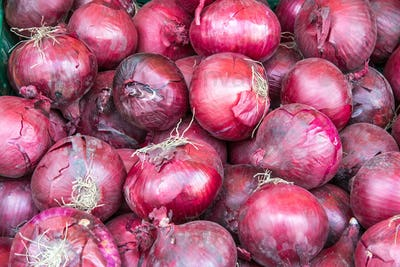 Background of red spanish onions