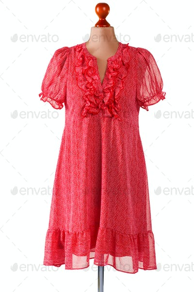 Red casual dress with v-neck.