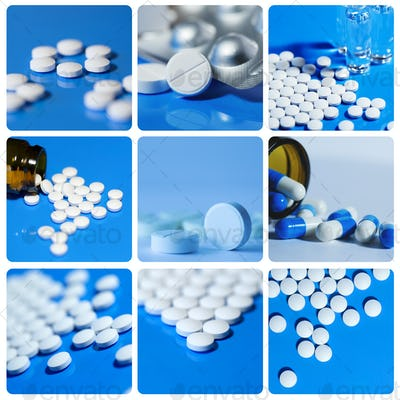 Collage includes white on a blue background tablets, pills.