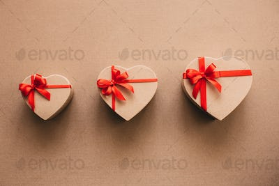 Gift boxes in the shape of heart.