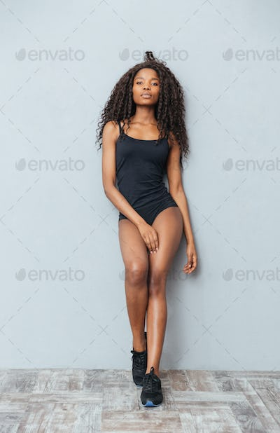Full length portrait of a beautiful afro american woman