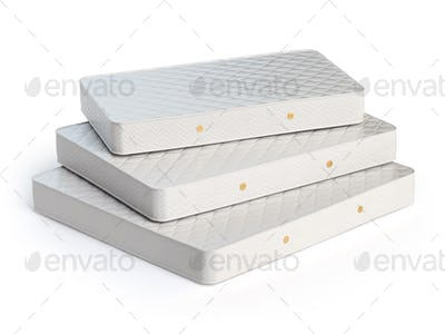 Mattress isolated on white background. Stack of orthopedic mattr