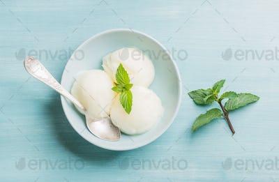 lemon sorbet ice cream with mint