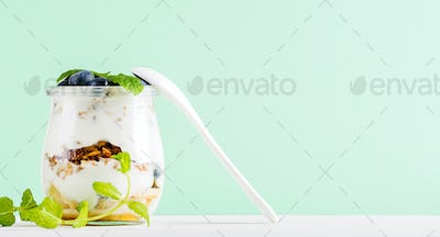 Yogurt oat granola with jam, blueberries and green leaves in glass jar on pastel mint backdrop