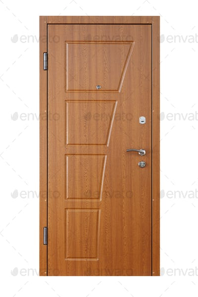 Brown alder wood closed door isolated on white