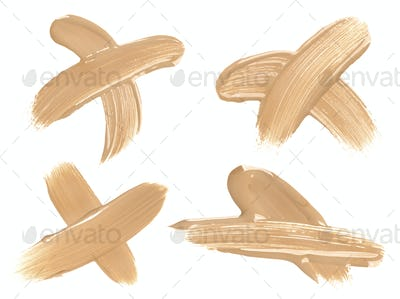 Foundation smudges range of colors