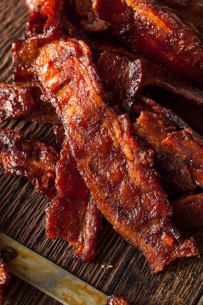 Homemade Dried Barbecue Bacon Jerky