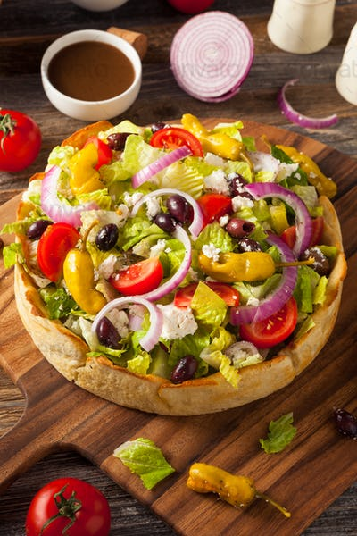 Homemade Greek Salad in a Bread Bowl