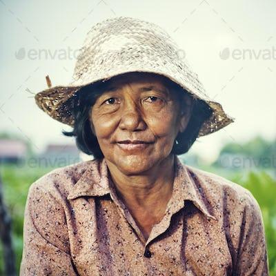 Female Farmer Crops Reap Harvesting Occupation Concept