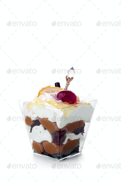 Healthy  dessert with creamy yoghurt layered