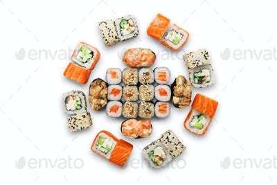 Set of sushi maki and rolls isolated.
