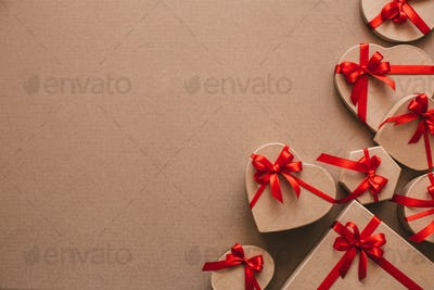 Stylish handmade gifts with red ribbons.