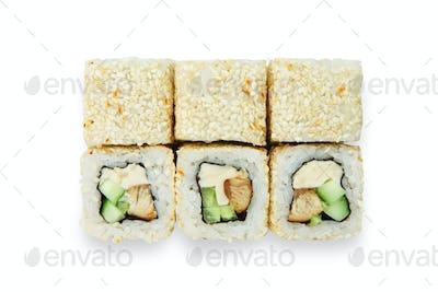 Set of sushi rolls isolated at white