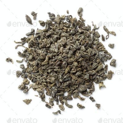 Heap of green gunpowder tea