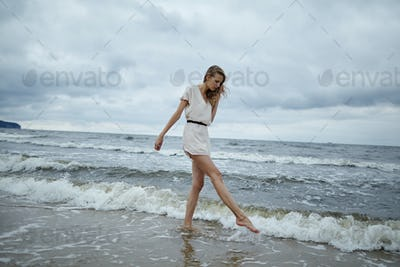 beautiful sensual girl in water
