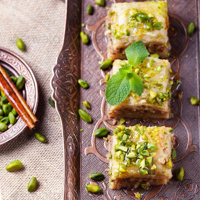 Turkish pistachio and phyllo pastry dessert, baklava