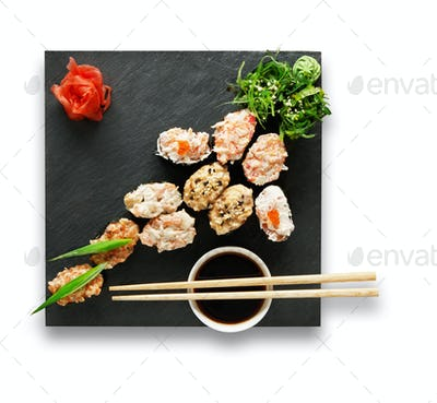Set of sushi gunkans isolated at white.