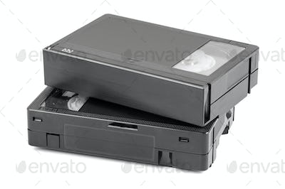 VHS-C video cassettes on white background