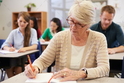 Senior woman studying at an adult education class