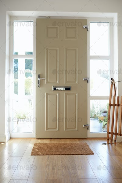 Front Door Of Contemporary Family Home