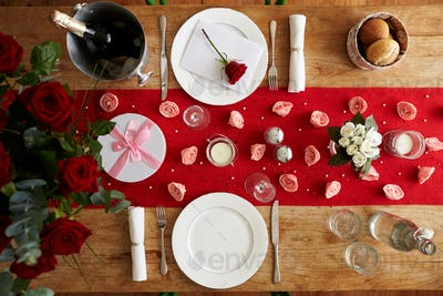 Overhead View Of Table Set For Romantic Valentines Day Meal