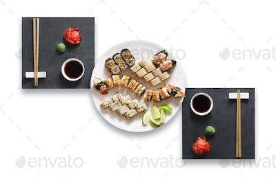 Set of unagi sushi and rolls isolated at white.