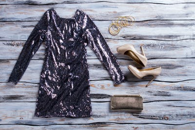 Gray sparkly dress and shoes.