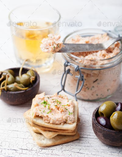 Smoked salmon and cheese spread, pate, crackers