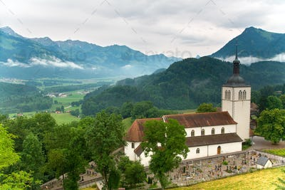 Church of Gruyères in the canton of Fribourg, Switzerland