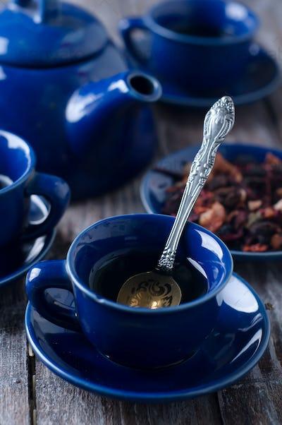 Blue cup of tea.