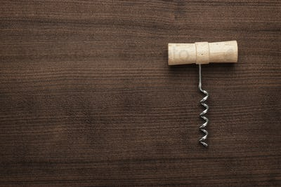 retro wooden corkscrew