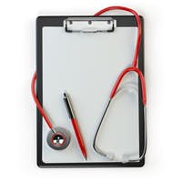 Clipboard withstethoscope and pen isolated on white. Diagnosis o