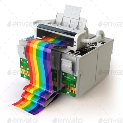 Printer and CMYK cartridges for colour inkjet printer isolated o