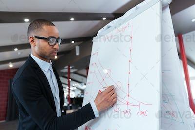 Businessman making presentation on the flipchart