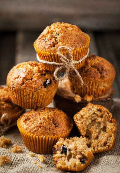 Fresh homemade delicious carrot muffins