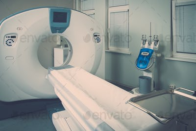 Computed tomography scanner in a hospital