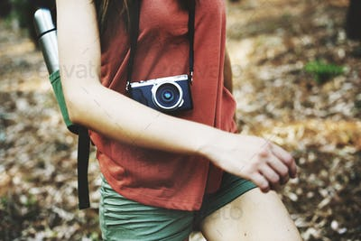 Camping Backpacker Photographer Camera Advanture Concept