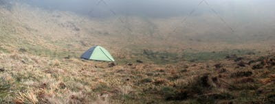 Tent on a misty morning