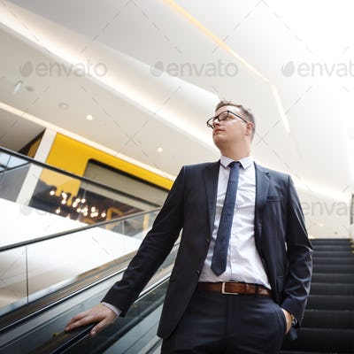 Escalator Confident Corporation Profession Suit Concept