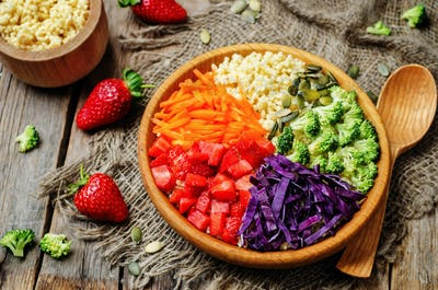 rainbow millet vegetable salad
