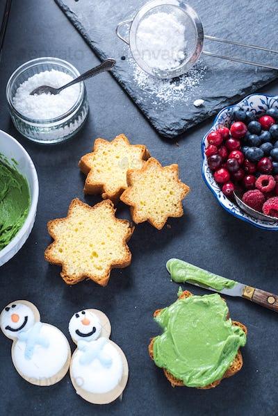 Decorating homemade Christmas cake