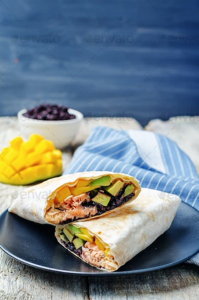 Salmon avocado mango black rice burritos