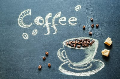 drawn with chalk cup of coffee with coffee beans and coffee insc