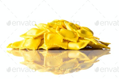 Yellow Italian Ravioli Isolated on White Background