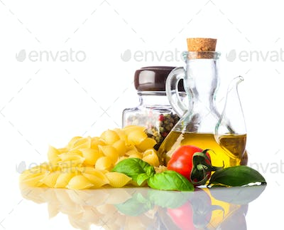 Conchiglie Rigate Pasta with Italian Cuisine Isolated on White