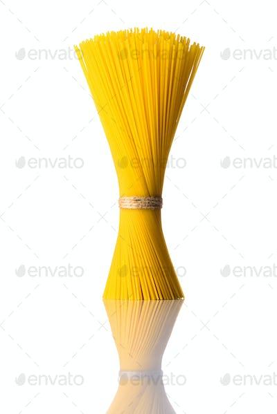 Bundle Yellow Spaghetti Pasta on White Background