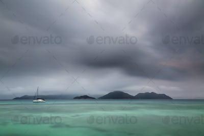 Dramatic Praslin Evening View, Seychelles