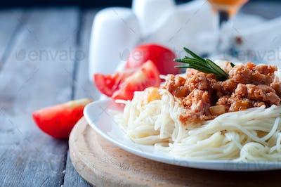 Delicious spaghetti with bacon
